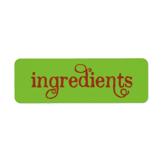 Recipe Card Ingredients LABELS