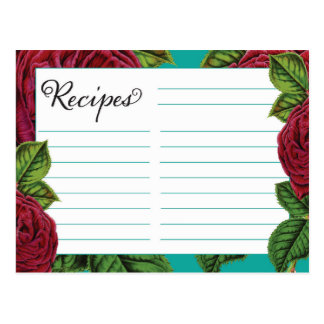 Recipe Cards Rose and Teal