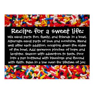 Recipe for a Sweet Life Postcard