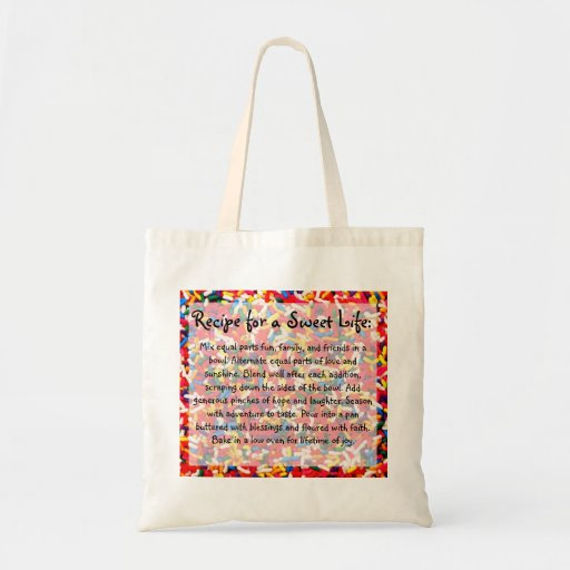 Recipe for a Sweet Life Totebag Canvas Bags