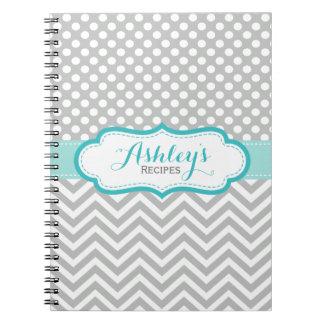 Recipe Gray Aqua Chevron Dots Notebook