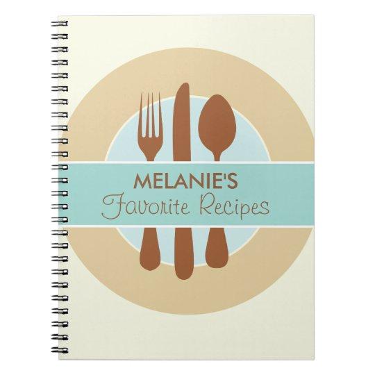 Recipe Journal, blue Spiral Notebook