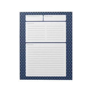 Recipe Page Blue and Polka Dots Notepad