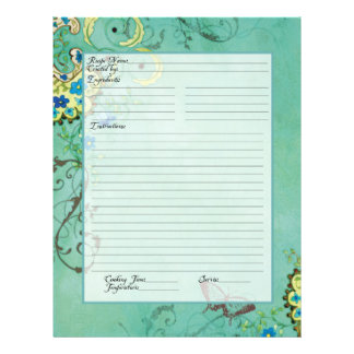 Recipe Page Family Heritage Cookbook Recipe Binder 21.5 Cm X 28 Cm Flyer