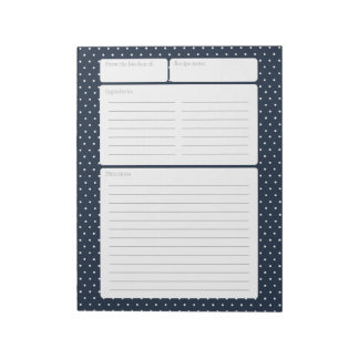 Recipe Page Navy Blue and Polka Dots Notepad