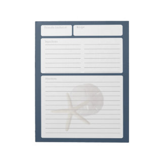 Recipe Page Sand Dollar and Starfish Note Pads