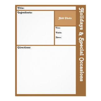 Recipe Pages (Brown) 21.5 Cm X 28 Cm Flyer