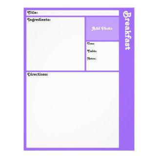 Recipe Pages (Light Violet) 21.5 Cm X 28 Cm Flyer