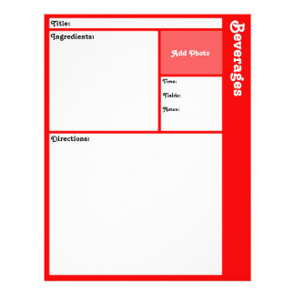 Recipe Pages (Red) 21.5 Cm X 28 Cm Flyer