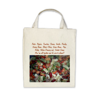Recipe Salad Grocery Canvas Bags