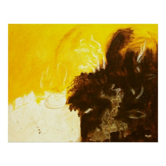Reckless Abandon, Abstract Art, Brown Gold Large Poster