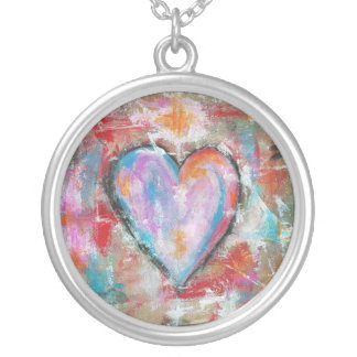 Reckless Heart Abstract Art Painting Pink Red Blue Silver Plated Necklace