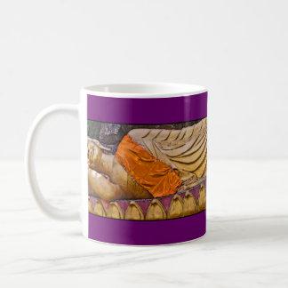 Reclining Buddha Purple Basic White Mug