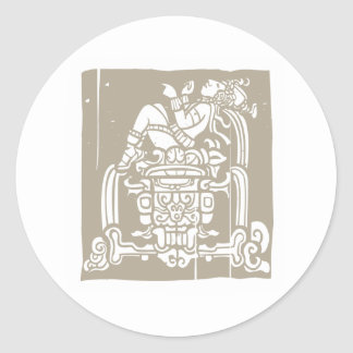 Reclining Mayan Woodblock Round Sticker