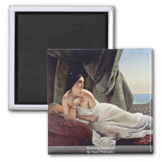 Reclining Odalisque By Hayez Francesco Square Magnet