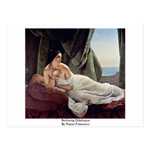 Reclining Odalisque By Hayez Francesco Post Card