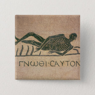 Reclining skeleton with the caption 'Know 15 Cm Square Badge