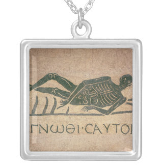 Reclining skeleton with the caption 'Know Silver Plated Necklace