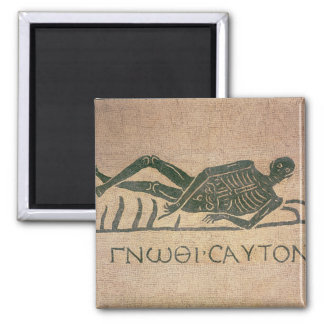 Reclining skeleton with the caption 'Know Square Magnet