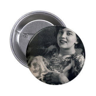 Reclining Tattooed Lady 6 Cm Round Badge