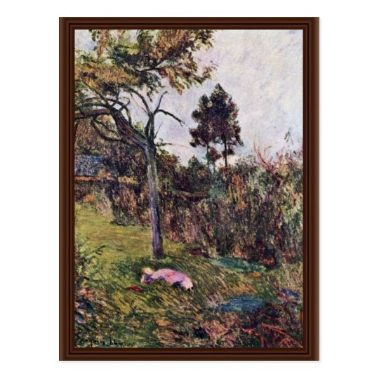 Reclining Woman In The Landscape By Gauguin Paul Postcard