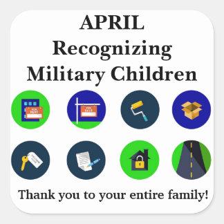 Recognizing Military Children - April Square Sticker