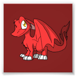 Recolorable SD Furry Dragon w/ Any Dark Color Back Photo Print