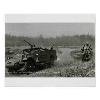 Reconaisance car and motorcycle poster
