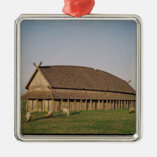 Reconstruction of an 11th century Viking house Silver-Colored Square Decoration