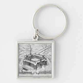 Reconstruction of Theleme Abbey Silver-Colored Square Key Ring