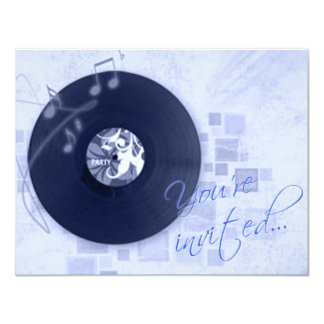 Record Album on Blue Dance Party Invitation