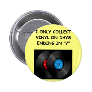 record collecting pinback button