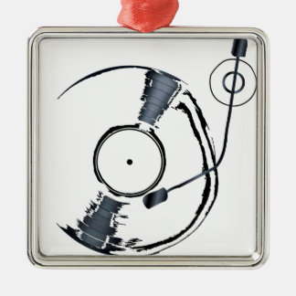 Record Deck Background Christmas Ornament