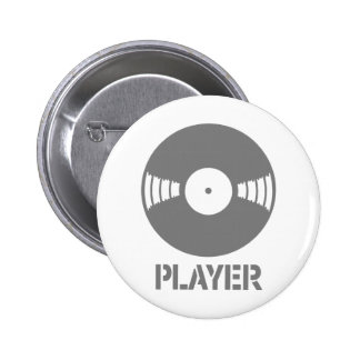 Record Player 6 Cm Round Badge