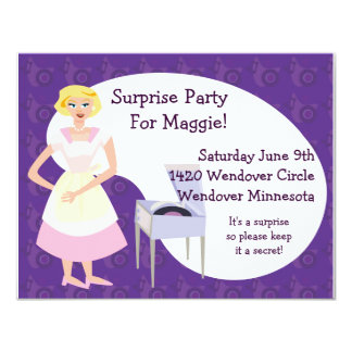 """Record Player Party 4.25"""" X 5.5"""" Invitation Card"""