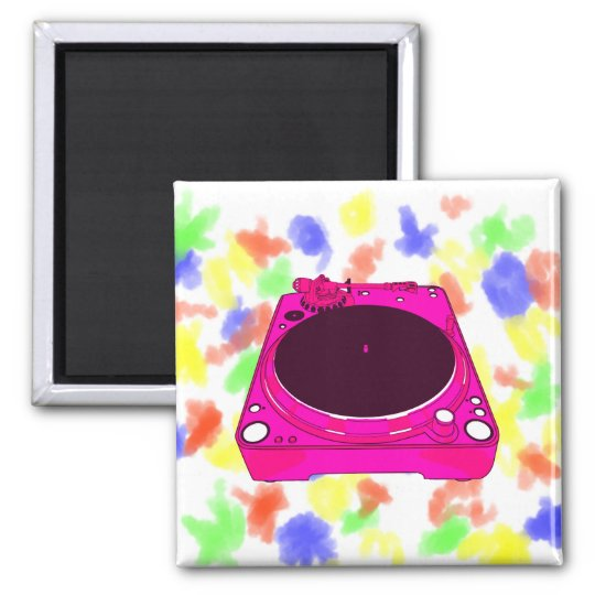 Record Player Pink Colour Graphic Square Magnet