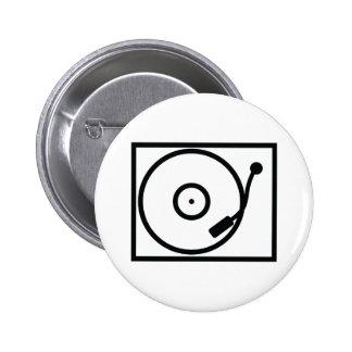 record player turntable icon 6 cm round badge