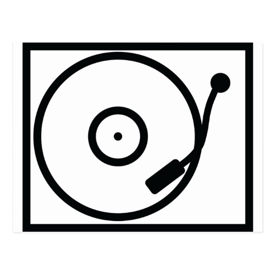 record player turntable icon postcard