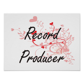 Record Producer Artistic Job Design with Hearts Poster