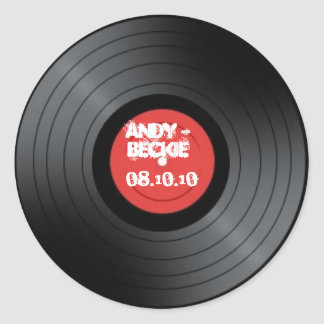 Record, Rock n Roll wedding. Classic Round Sticker