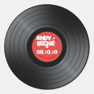 Record, Rock n Roll wedding. Round Sticker