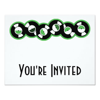 Record Row Green 11 Cm X 14 Cm Invitation Card