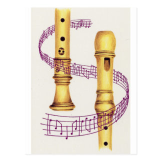 Recorder and Music Postcard