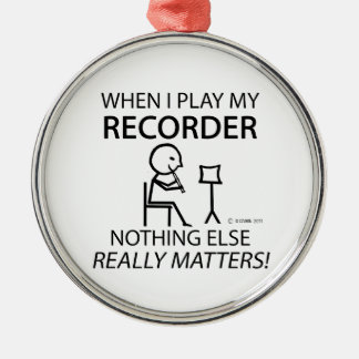 Recorder Nothing Else Matters Silver-Colored Round Decoration