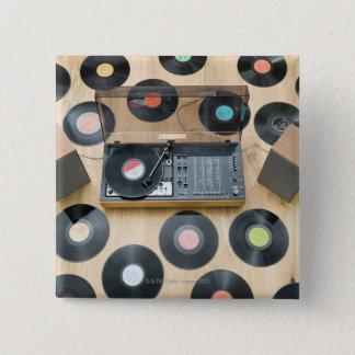 Records on Floor 2 15 Cm Square Badge