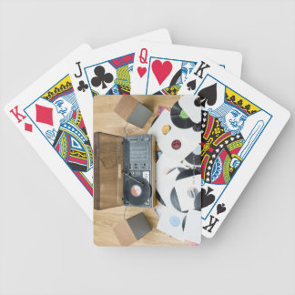 Records on Floor Bicycle Playing Cards