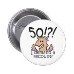 Recount 50th Birthday 6 Cm Round Badge