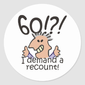 Recount 60th Birthday Round Sticker