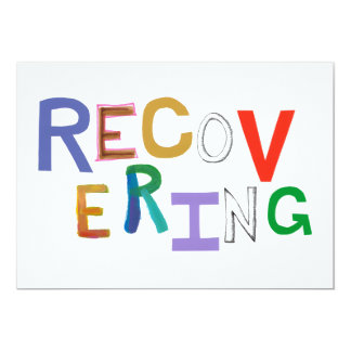 "Recovering healing new beginning funky word art 5"" x 7"" invitation card"