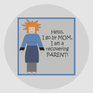 Recovering Mom Blue Round Sticker
